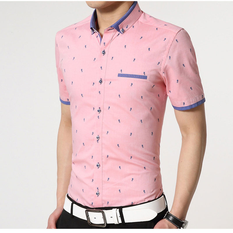 Casual short sleeve shirt for men pink dsquared dress for Mens dress shirts fashion
