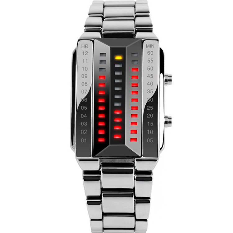 hot brand waterproof LED electronic stainless steel of women to men of pulse binary luminous watches sports red LED displayer