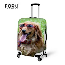 FORUDESIGNS Dustproof 18-28 inch Animal Glasses Dog Printing Travel Luggage Protector Elastic Suitcase Cover Luggage Accessories(China (Mainland))
