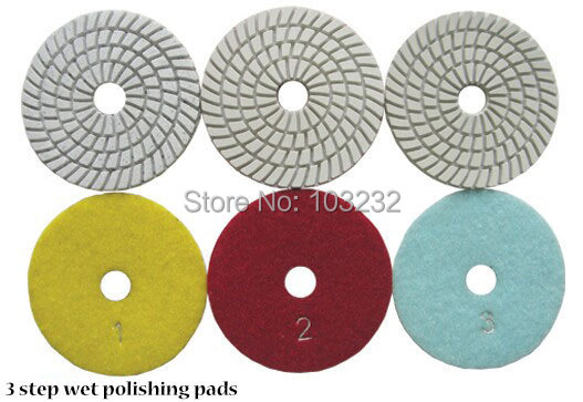 3 step wet polishing pads fast gloss diamond angle grinder pad 4 inch granite marble abrasive pcs/lot - East Sea Bay store
