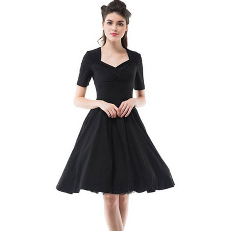 Buy 50s retro dress 1950s vintage hepburn style black red for 50 s pin up wedding dresses