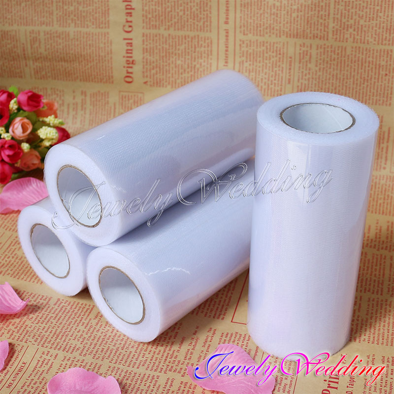 4 Pieces a Lot White Tulle Roll Fabric Spool Tutu Wedding Party Decoration 16 Optional Colors New Fashion(China (Mainland))