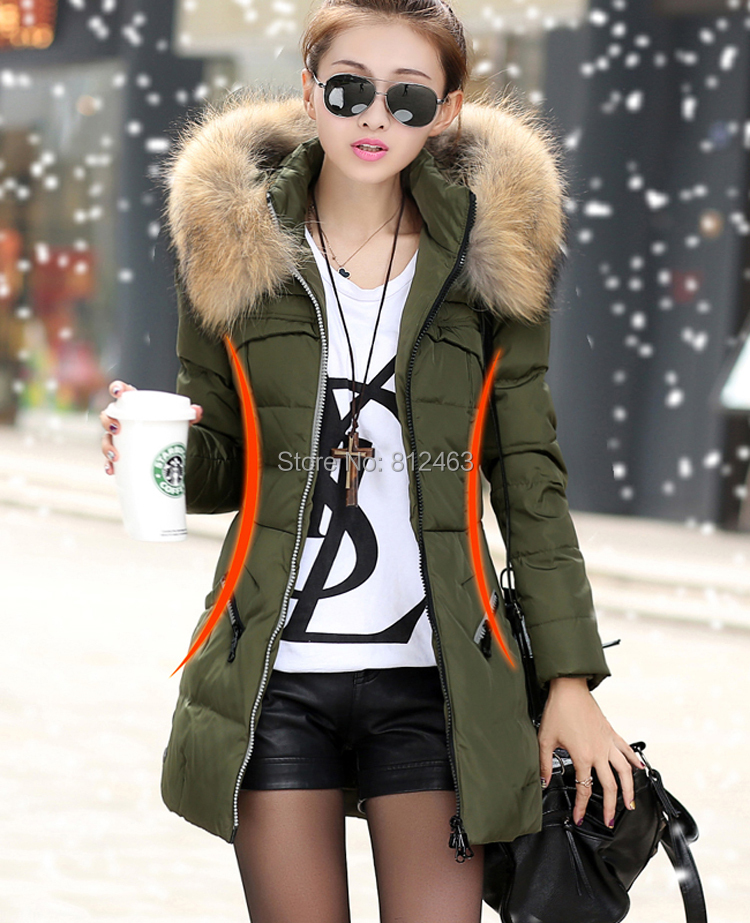 parkas,winter jacket women,down jacket,2015 Korean girls big Fur Collar Jacket coat Womens lady parkas - Netmall store