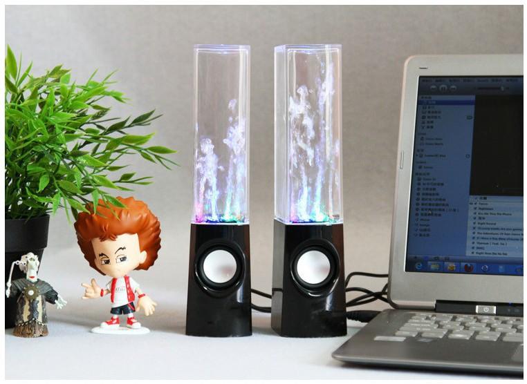 Original & Top Music ONE Pair LED Water Dancing Speakers Music Fountain Light Speakers USB Water Spray Mini Speaker#EX123(China (Mainland))