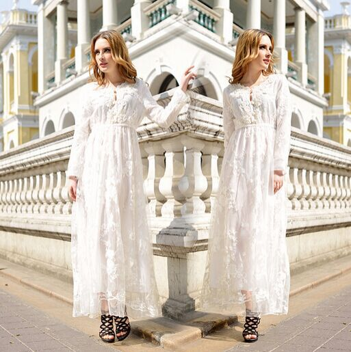 2015 Summer new fashion Three French heavy wool embroidery crafts hook flower collar lace dress big swing dress for women gift(China (Mainland))