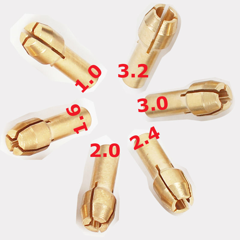 1.0/1.6//2.0/2.4/3.0/3.2mm  6 Pieces Mini Drill Brass Collet Chuck for Dremel Rotary Tool Including dremel accessories<br><br>Aliexpress