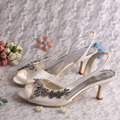 Designer Brand Ladies Sandals Medium Heel Women Summer Dress Shoes Ivory Satin
