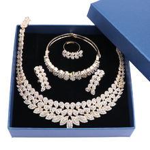 2018 Modeschmuck Set für Frauen Kristall Braut Schmuck Sets Party Mode Kostüm Halskette Ohrringe Schmuck mit Geschenk Boxen(China)