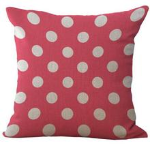 Pink Series Striped Lattice Dot Ripple Linen Throw Pillow Case