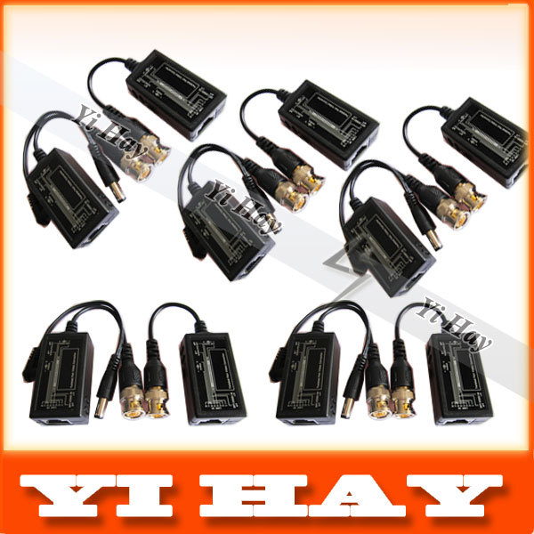 5 Pair Video Security Camera Balun ,BNC CAT5 Transceiver ,BNC to RJ45 Video Balun with Power Connector for CCTV ,Free shipping(China (Mainland))