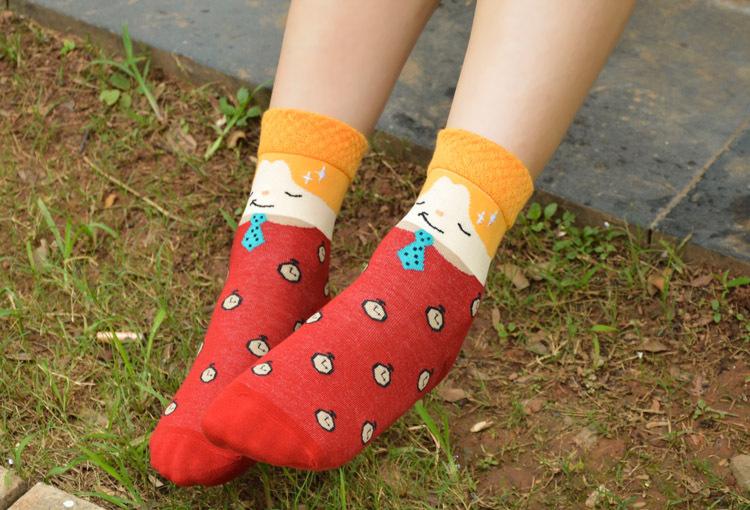 Любовника милый комикс носки хлопок южная корейский Creative прихоть женщины в носки