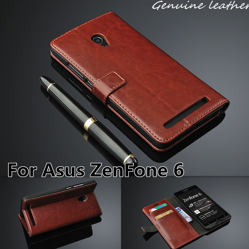 For Asus ZenFone6 Case Wallet Stand Genuine Leather Case Cover For Asus ZenFone 6 Magnetic Flip Cover With Card Holder Brown(China (Mainland))