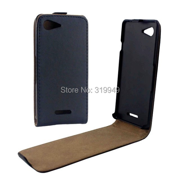 High Quality Black Vertical Flip Leather Cover Case For Sony Xperia E3 D2203 Free Shipping(China (Mainland))