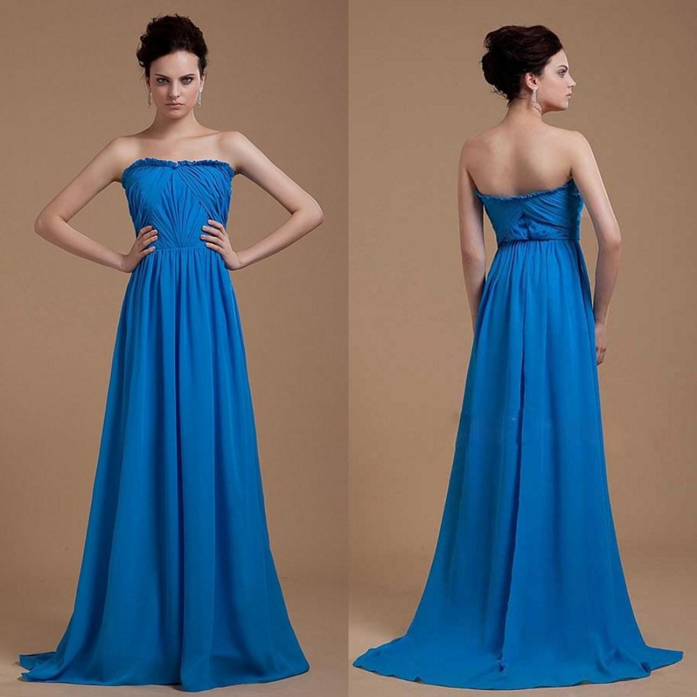 Bridesmaid dresses chiffon sexy maid of honor formal royal for Maid of honor wedding dresses