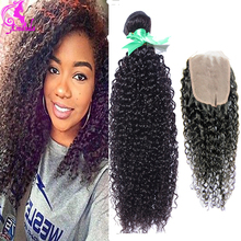 Crochet Hair Extensions Peruvian Kinky Curly Virgin Hair 3 Bundles With Closure 7A Beauty Afro Kinky Curly Hair Jet Black