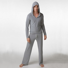 Mens Sexy Silk Hooded Yoga Costumes Male Fitness Suit Pajama Sets Pullover Sleepwear Homewear Hot Pyajama S M L(China (Mainland))