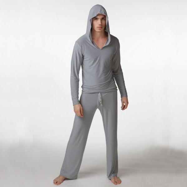 Mens Sexy Silk Hooded Yoga Costumes Male Fitness Suit Pajama Sets Pullover Sleepwear Homewear Hot Pyajama S M L