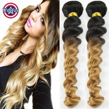 Peruvian Loose Wave Ombre Virgin Hair Bundles Deals One pcs 100 Human Hair Weaving Peruvian Virgin Hair Loose Wave Ombre Blonde