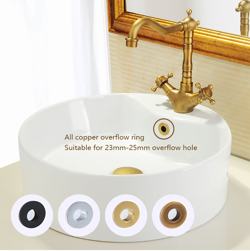 OKAROS Bathroom Basin Sink Overflow Cover Brass Decoration Six-foot Ring Bathroom Product Basin Tidy Insert Replacement