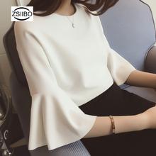Otoño mujer blanco Blusa de gasa estilo coreano cuello redondo trompeta mangas camiseta Superior Femenina harajuku elegante OL ropa de trabajo(China)