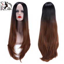 1PC Long Kanekalon Hair Wigs Wavy Curly Curl Free Gift Cap U Part Wig Natural Synthetic Heat Resistant Ombre Wig