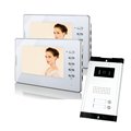 FREE SHIPPING Apartment 7 Video Intercom Door Phone System 2 White Monitors 1 Doorbell Camera For