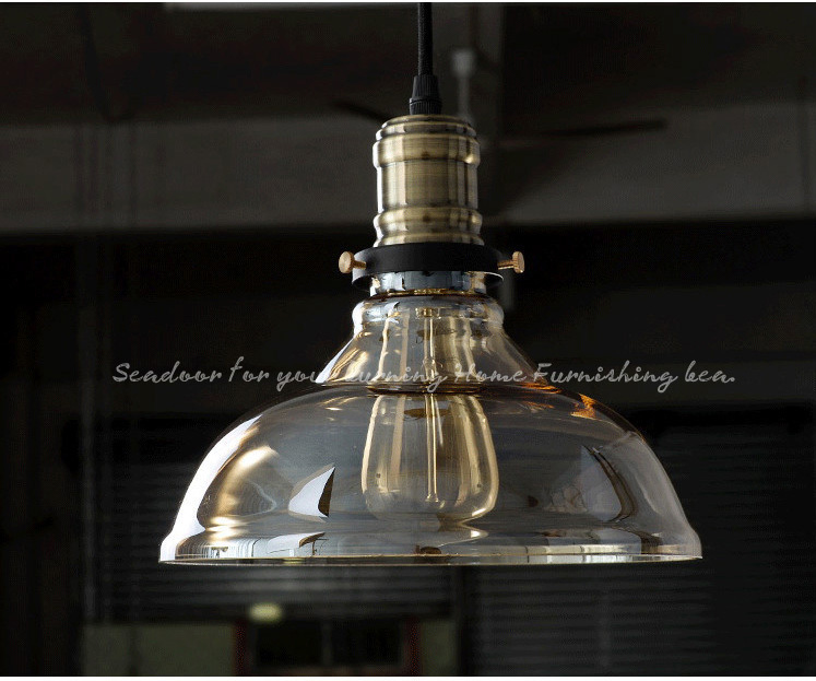 Vintage Industrial Cafe Glass Shade Metal Pendant Lamp