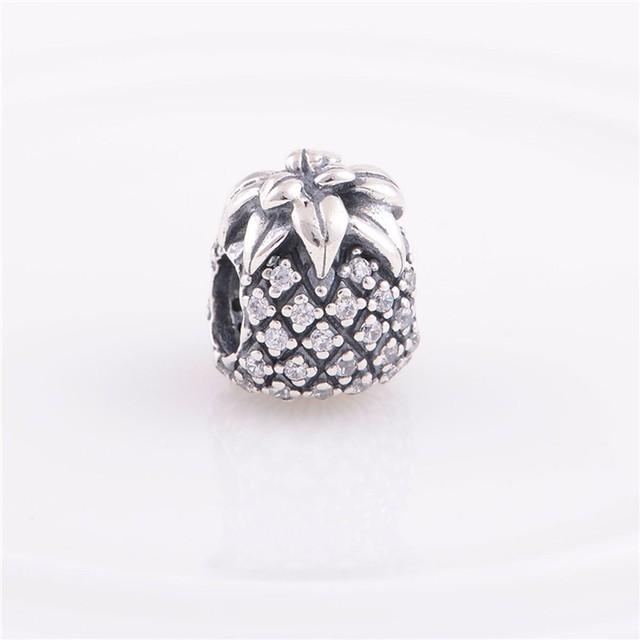 Подходит пандоры прелести браслет аутентичные 925 серебряные ювелирные изделия бусины игристое ананас шарм DIY мода ювелирных изделий