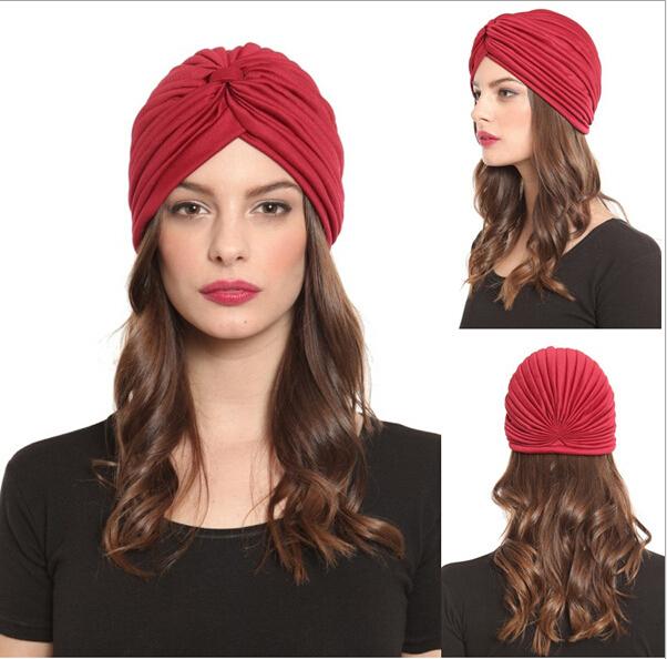 Hats Beanies Soild Stretch Bandana Unisex Indian Stretchable Turban Beanies Lady Girl Birthday Evening Party Bonnet Headwear(China (Mainland))