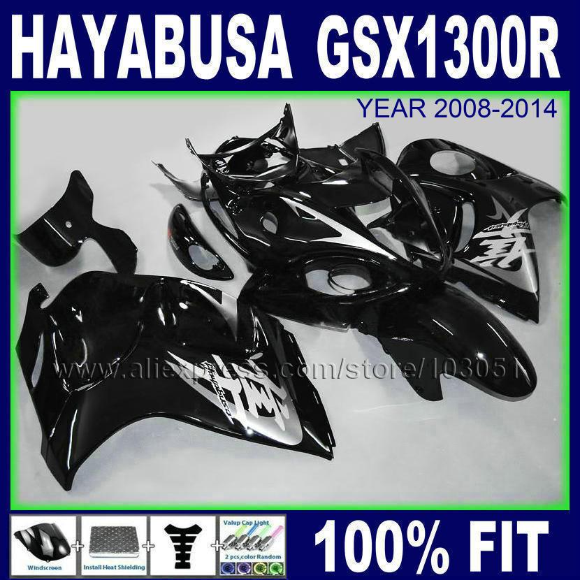 Injection  fairing kits for hayabusa SUZUKI 08 GSX1300R 09 GSXR1300 2008 2009 2010 2011 bright black aftermarket fairings sets<br><br>Aliexpress