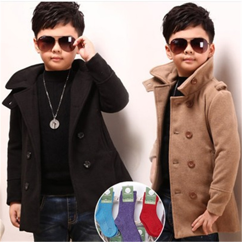 Male child outerwear wool coat winter clothing children's 2017 long design thick Fashion Jackets to 3-6 year-old boy
