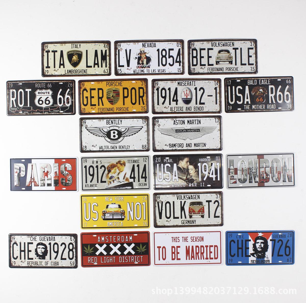 Vintage license plate metal painting fashion bar decoration wall world cars(China (Mainland))