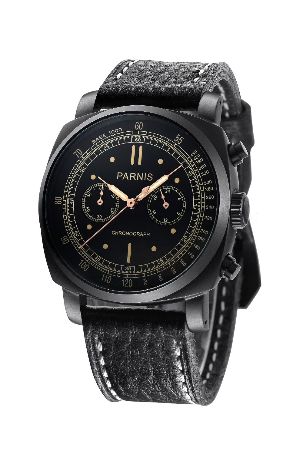 Parnis 45mm Black Dial PVD Case Chronograph Men's Watch