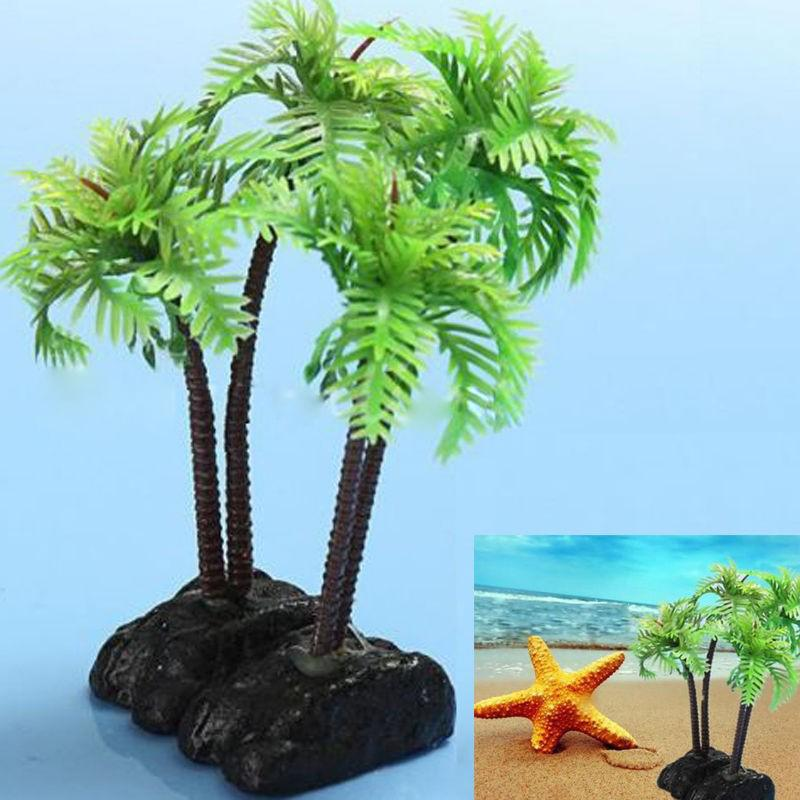 1 x plastic aquarium coconut trees fish tank plants for Fish tank tree