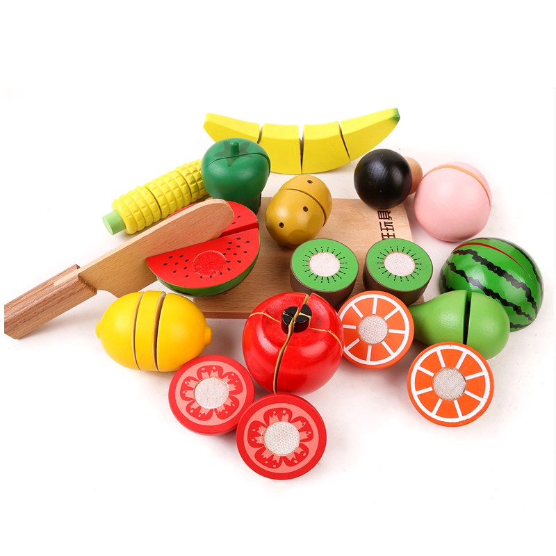 Kitchen Food Toys Fruit Fish Vegetable Blocks Children Lovely Wooden Toys Play House Toy For Baby(China (Mainland))