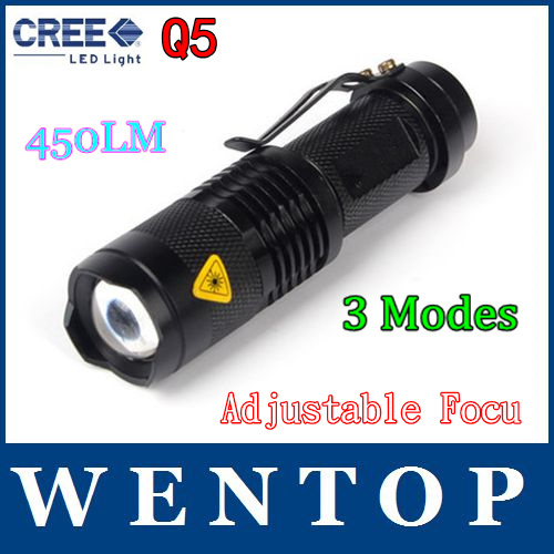 7W 450LM Mini CREE LED Flashlight Torch Adjustable Focus Zoom Light Lamp torch tracking number - ShenZhen WENTOP Technology Co., Ltd. store