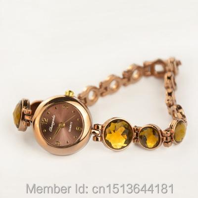 Brand Diamond Clock Female Ladies Full Coffee Gold Bracelet Watch GENEVA Watches Women Quarzt Watches relogio feminino Gift(China (Mainland))