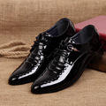 Derby shoes mens patent leather black shoes big size 38 44 solid breathable mens pointed toe