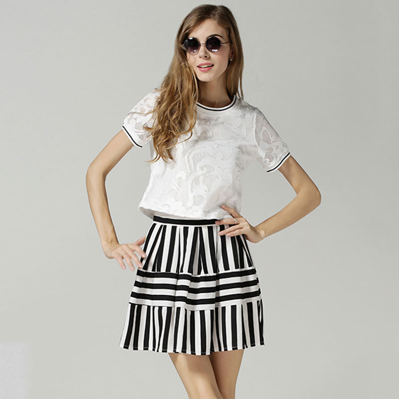 2015 new lace Jacquard stitching blouses short sleeves black white striped skirt two piece sets woemen summer - NiceGoods2014 store