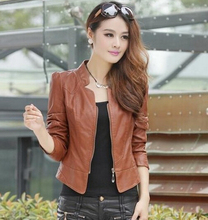 2015 new arrival women's fashion slim Simple Leather jacket coat drop shipping high quality LS569(China (Mainland))