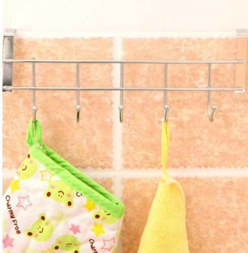 5 Hooks Stainless Steel Clothes Hooks Door Rack Bathroom Kitchen Bedroom Towel Hanger Hanging