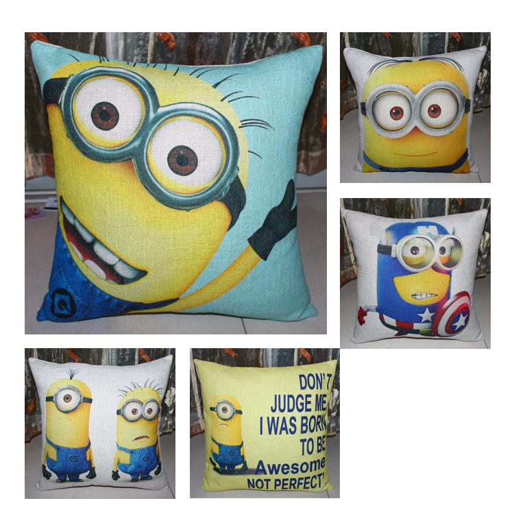 5 styles Cartoon Little Yellow Man Sofa Cushion Covers Minions Pillow Case Pillow Covers Chair Car Decoration Children Gift(China (Mainland))