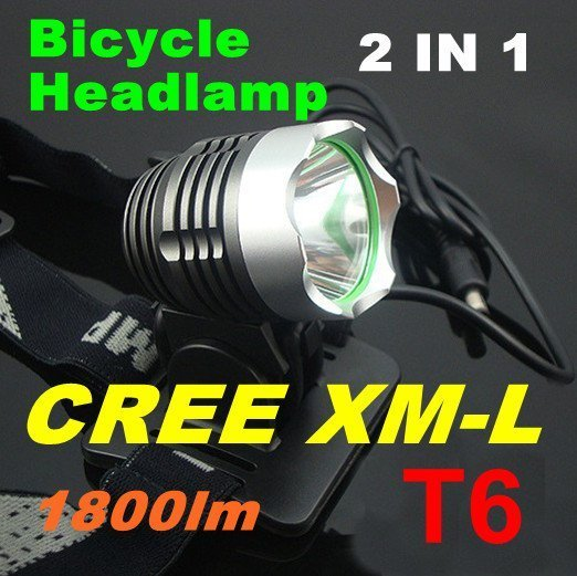 1800LM 2 in 1 CREE XM-L T6 LED Bicycle bike HeadLight Head Lamp Flashlight Light Headlamp with Rechargeable Battery & Charger