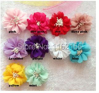2014 Newborn hair accessories chiffon fabric match end center ballerina flowers Flat Back For Headbands Hair Band Christmas Gift(China (Mainland))