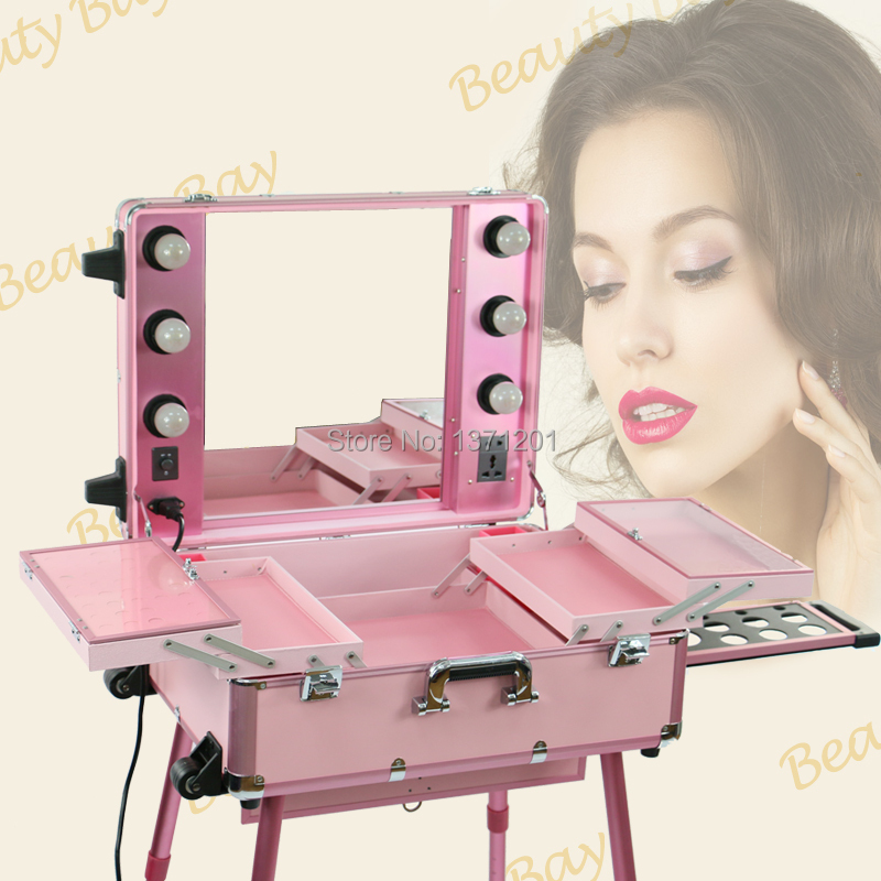 Free shipping to Europe, India, UK, 2015 hot sale pink makeup case with lights, Aluminum makeup trolley train case(China (Mainland))