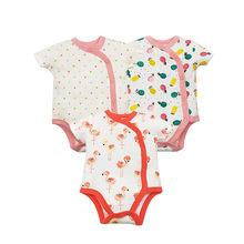 3 шт./партия, хлопковые комбинезоны для детей, одежда для новорожденных, летняя одежда для маленьких мальчиков и девочек, комбинезон с коротк...(China)