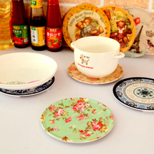Placemat High-Grade Melamine Multipurpose Insulation Mat Vintage Cartoon Pot Pad Bowl Cup Mat 16.5cm Doilies Kitchen Accessories(China (Mainland))