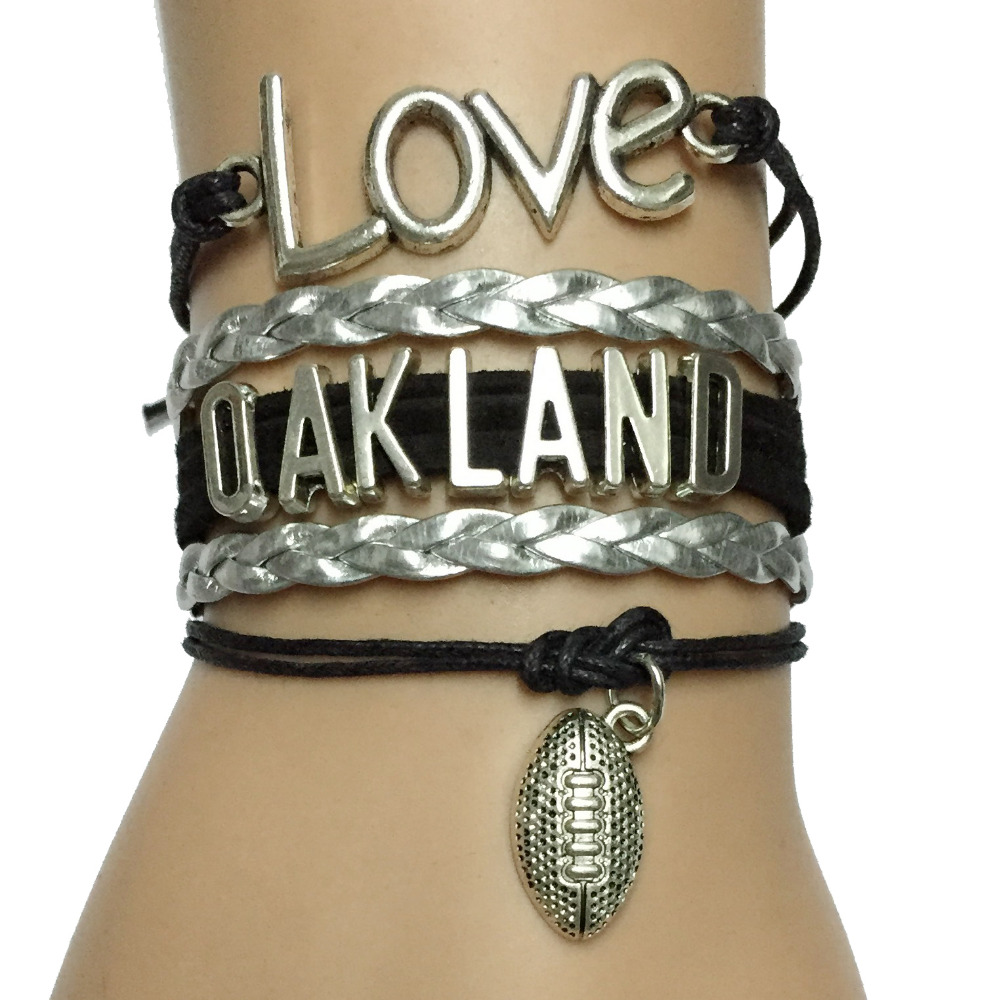 Drop Shipping Love Oakland NFL Football Team Braceles College Bracelet Bangle -Custom Silver with Black Leather Braid Gift(China (Mainland))