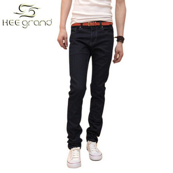 New Slim Stretch Men Jeans Denim Trousers Straight Solid Casual Jeans MKN002