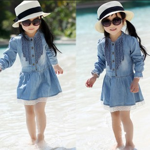 Retail 2015 New Autumn Children's Clothing Girls Casual Princess Dresses Kids Cotton Thin Denim Long-Sleeve Dress - Yiwu Superfashion Baby E-commerce Business Firm store